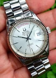 Vintage 1980s Bulova Super Seville Day Date Automatic Swiss Mens Watch Running