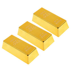 3x Fake Gold Bar Paperweight Prop Party Table Ornaments 6'' Bullion Toy
