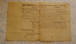 1820 New York Military Cavalry Officer Commission Signed Dewitt Clinton