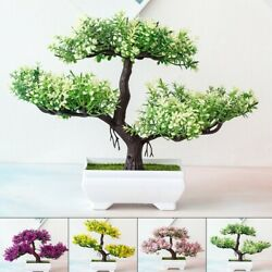 Fake Artificial Pots Plants Bonsai Potted Pine-trees No-fading Home Office Decor