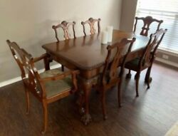 Antique Dining Room Table And Chairs, Mahogany, 20th Century