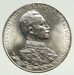 1913 A Germany German States Prussia Wilhelm Ii Antique Silver 3mark Coin I93323