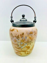 Antique Victorian Milk Glass Painted Biscuit Jar With Lid And Bale - Estate