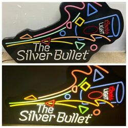 Coors Light Beer The Silver Bullet Lighted Bar Sign Large 40x24 Vintage Rare
