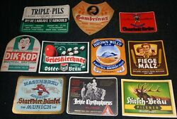 Lot Of Old Graphic Non-us Foreign Vintage Beer Bottle Labels