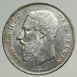 1873 Belgium With King Leopold Ii And Lion Genuine Silver 5 Francs Coin I93541