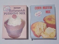 Junior Chef Vintage Toy Food Boxes Pudding Corn Muffin Mix 4 Tall