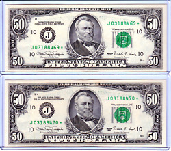 2 Uncirculated Frn Fifty Dollar Bill 50 Sequential Star Notes - Vintage - 059