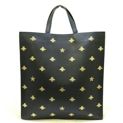 Auth Beaster 495444 Black Gold Leather Womens Tote Bag