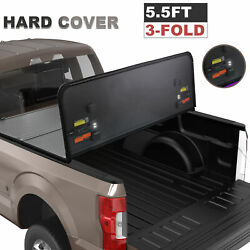 5.5ft 3-fold Hard Truck Bed Tonneau Cover Fit 09-14 Ford F-150 Crew Cab W/lamp