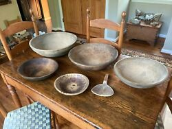 5 Antique Nesting Out Of Round Hand Turned Wooden Dough Bowls 171513119