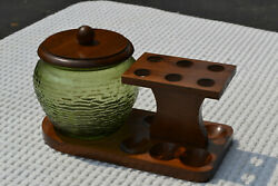 Vintage Mid Century Fairfax Pipe Stand With Glass Tobacco Jar Humidor