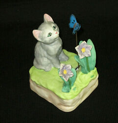 Mann Music Box Cat Flowers Vintage Moving Butterfly Memory Japan