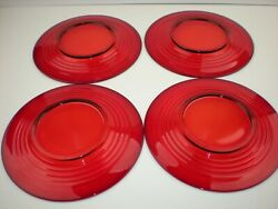 Set Four New Martinsville Moondrops Or Paden City Penny Line Red Ruby Plates 8