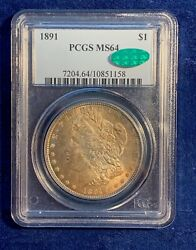 U.s. 1891 Morgan Silver Dollar, Choice Uncirculated, Pcgs Certified Ms64-cac