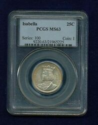 U.s. 1893 Isabella Quarter-dollar Silver Uncirculated Coin Certified Pcgs-ms63