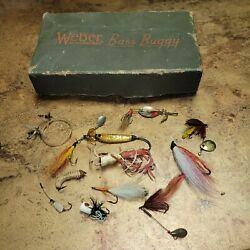 Antique Vintage Weber Fly Box And Flies Popper Fishing Lures Tackle Awesome