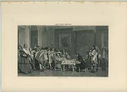 Antique Moliere Breakfast Table Food King Louis Xiv Royal Court Old Art Print