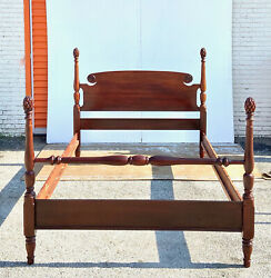 Vintage Cherry Wood Full Size Four Poster Bed With Pinecone Finials