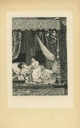 Antique Artistic Nude Woman Lace Ruffle Sheets Canopy Bed Bedroom Etching Print