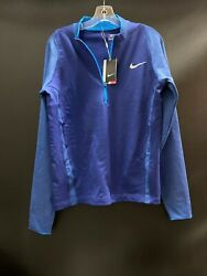 Miami Dolphins Team Issued Royal Blue Nike Dri-fit Golf Sweater New W/tags