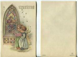 Vintage Christmas Embossed Erna Maison Angels Stained Glass Christ Window Card