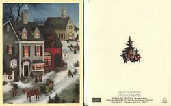 1 Vintage Christmas Victorian Village Toy Shop Cabinetry Store Horse Buggy Card