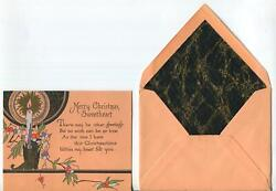 Vintage 1930and039s Art Deco Hand Painted Candle Sweetheart Woodblock Greeting Card