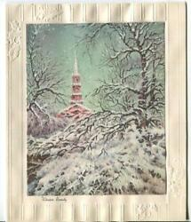 Vintage Christmas Snow Glitter Heavy Storm Covered Trees Church Greeting Card