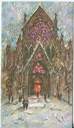 Vintage Christmas Cathedral Church Stained Glass Window Impressionism Art Card