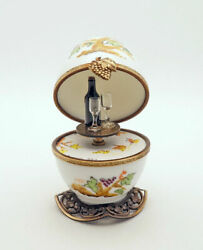 Plays Music New Grape Vine Egg French Limoges Trinket Box With Wine Bottle Key