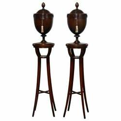 Antique Pair English Georgian Iii Mahogany Knife Boxes And Pedestal Stands C1830