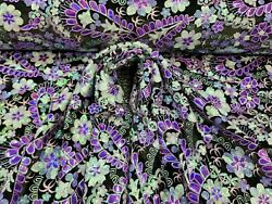 Fabric By The Yard Purple Sequin Lace Floral Flower Embroidery Black Velvet