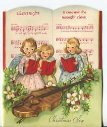 Vintage Christmas Angels Girls Guitar Singing Silent Night Midnight Clear Card