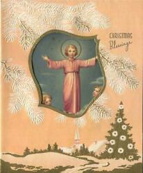 Vintage Christmas Christ As A Boy Angels Doves Embossed Gold Tree Greeting Card