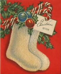 Vintage Christmas Holly Berries Stockings Ornaments Candy Cane Flocked Art Card