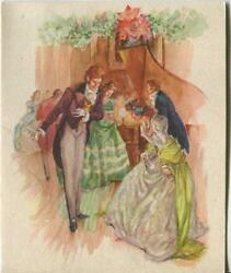 Vintage Christmas Glitter Victorian House Party Girl Piano Greeting And Santa Card