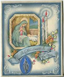 Vintage Christmas Blue White Madonna Christ Child Candle Pine Cone Greeting Card