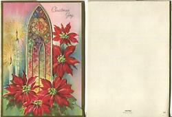 Vintage Christmas Church Stained Glass Window Candles Poinsettia Embossed Card