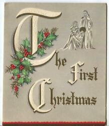 Vintage Christmas Nativity Gray White Red Green Holly Embossed Letters Card