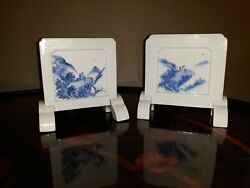 Near Pair Antique Japanese Blue And White Miniature Porcelain Table Screens
