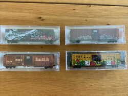 N Scale Micro Trains Freight Cars Lot 4 Weathered Graffiti