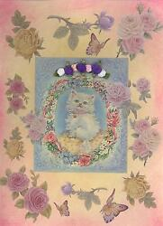 Vintage Persian White Blue Cat Kitten Roses Aesthetic Collage Picture Art Print