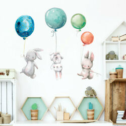 Hot Air Balloon Wall Stickers DIY Removable Kids Watercolour Animal Baby Nursery