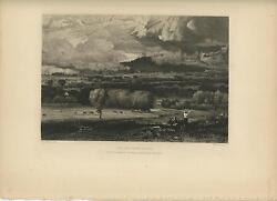 Antique Maine New England Landscape Saco River Valley Original Etching Old Print