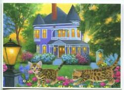 Aceo Bengal Cats Kittens Purple Victorian House Porch Garden Playing Art Print