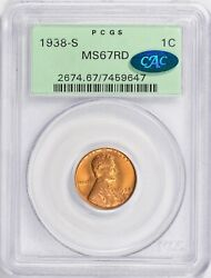 1938-s Pcgs Ms67rd Cac Ogh Lincoln Wheat Cent Old Green Label Pq Holder Vintage