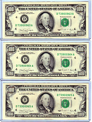 Lot Of 3 Uncirculated Frn Hundred Dollar 100 Sequential Notes - Vintage - 061