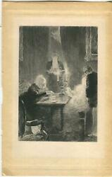 Antique Glowing Candle Light Deck Of Cards Game Butler Man Tea Service Art Print