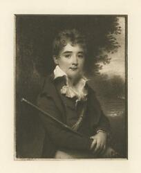 Antique Miniature Title Portrait Of A Boy With A Gun Thomas Hargreaves Print